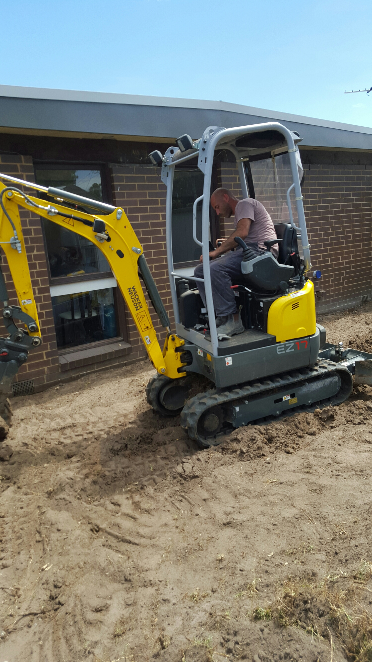 mini excavator in action